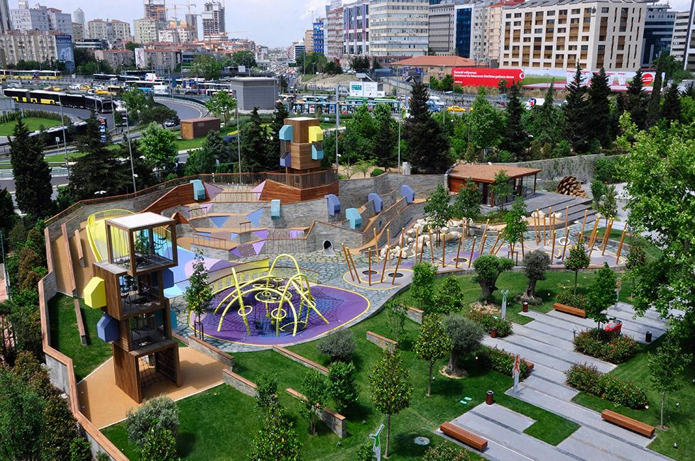 The Zorlu Center playground, designed by Carve Landscape Architecture. Photo copyright Qguz Meric via Landzine.