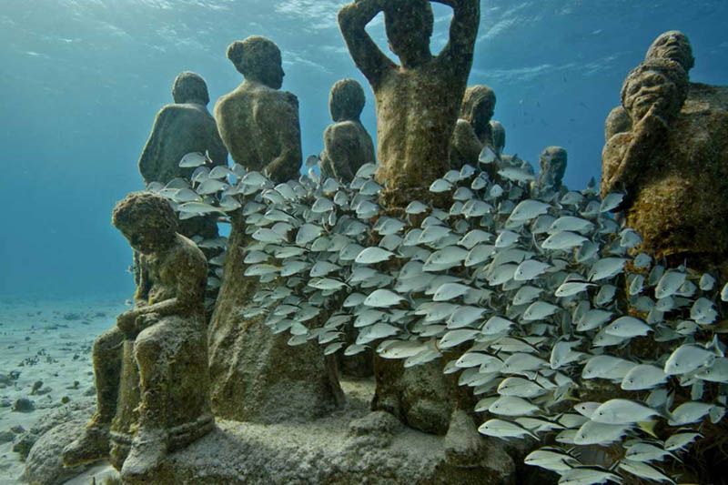 Sculptures in the Underwater Museum of Art in Cancun, Mexico. Photo from Aquaworld.
