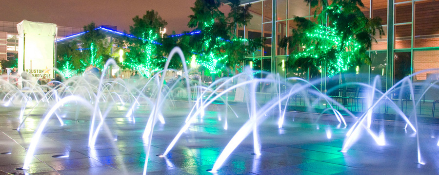 Fountains at Discovery Green.