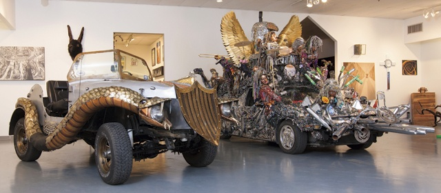 Some vehicles featured at the Art Car Museum.