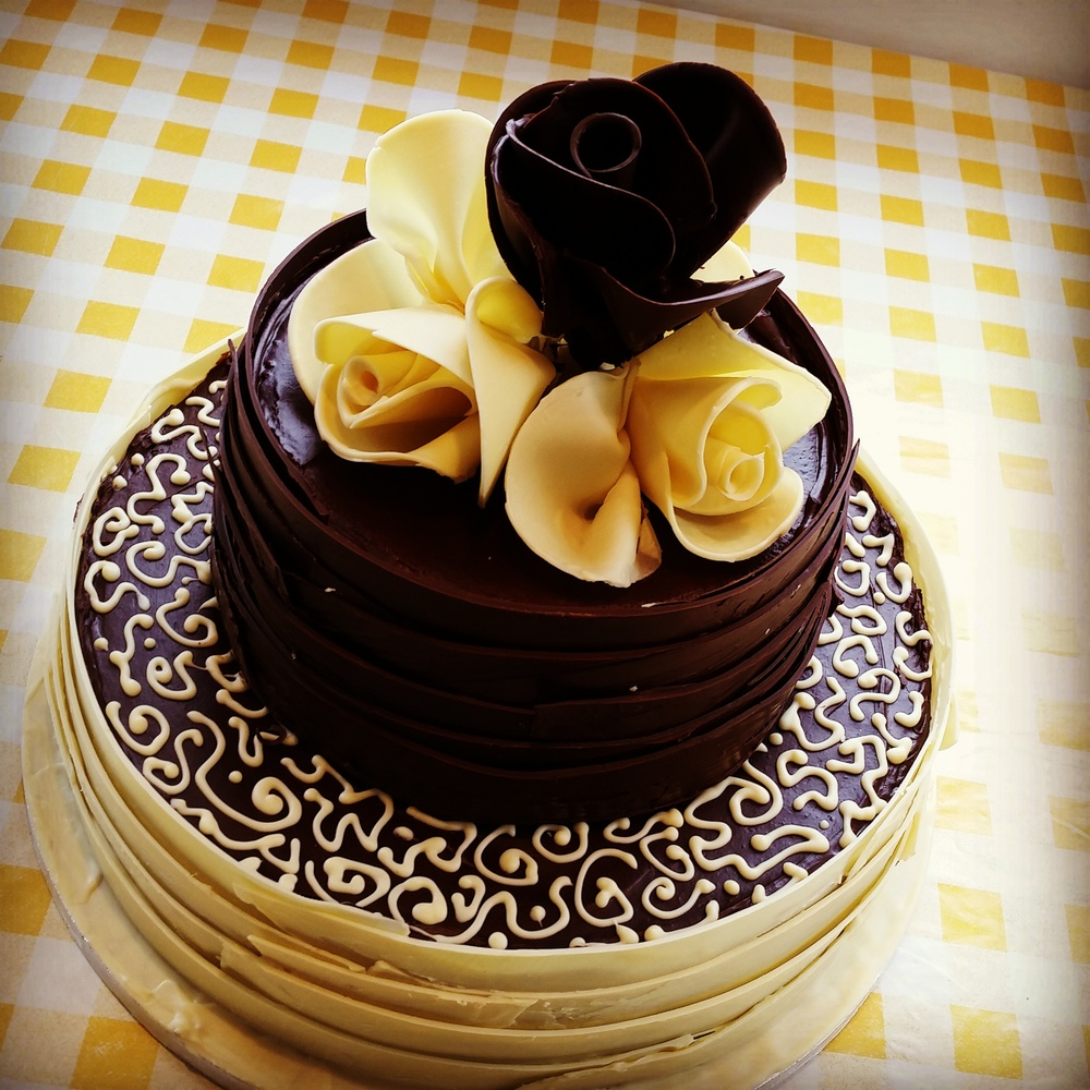 Chocolate roses and wedding cake