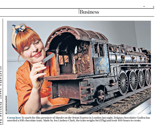 Chocolate train for Godiva Chocolate and 20th Century Fox, takes 3 months to create ! -
