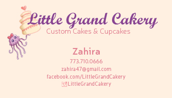 Business Card - I worked with Zahira to design a graphic to be used as a logo for the business. Taking the cute aesthetic that she wanted to communicate for her services, I selected appropriate type faces and minimal design to make her business cards.  Below you will find designs that I made for label stickers that Zahira wanted to be able to used to label her different types of pastries. She has a label for cakes, chocolate cupcakes, vanilla cupcakes, and half chocolate/half vanilla cupcakes. Click on a box to see the sticker up close.