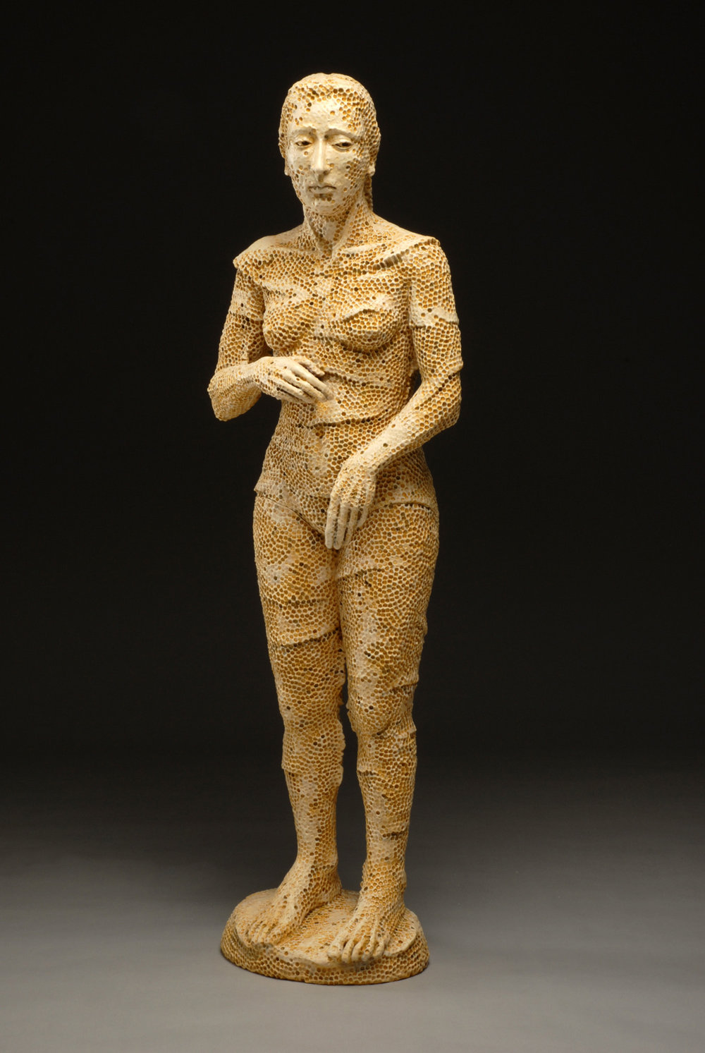 """Eve, Honey Comb,"" clay, glaze, wax encaustic, 50 x 17 x 12″"