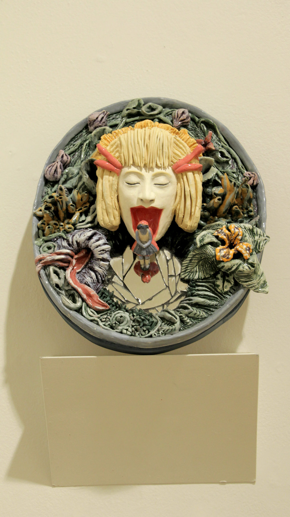 """""""Discovering the Deepest Mirror"""" Clay, Underglaze, Glaze, mirror H 15 1/2 in W 12 3/4in D 5 1/2 in, 2018"""