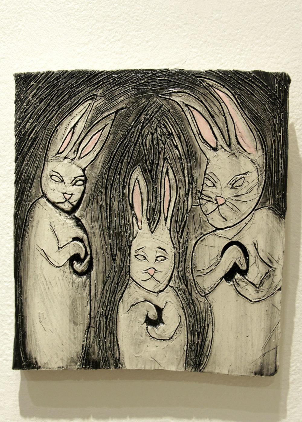 """""""The Family"""" Clay, underglaze, glaze"""