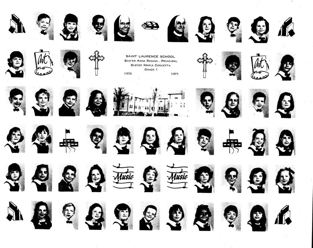Not my first grade class, but a photo from my grade school's website -Sr. Regina was still the principal when I arrived