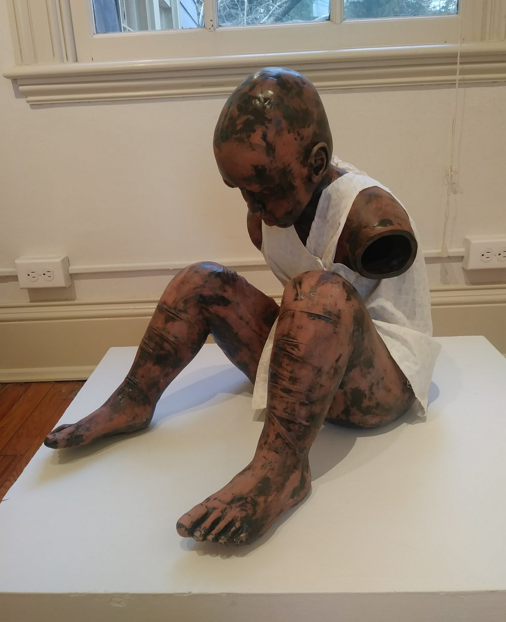 """""""Help Me to Help You to Help Us: Xavier,"""" by Kimberly Canfield, Earthenware and Linens"""