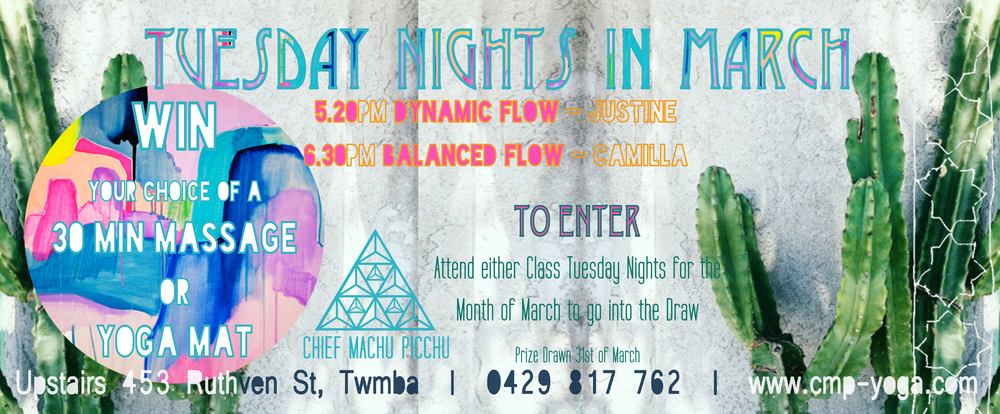 WIN Tuesday Nights in March! Attend 5.20pm or 6.30pm Class to Enter the Drawer to Win!
