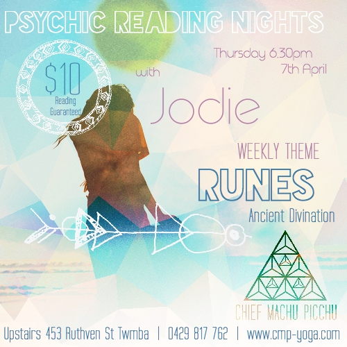 Thursday 7th April at 6.30pm  |  Our Psychic Reading Night at Chief Machu Picchu with Medium, Jodie - Reading Runes