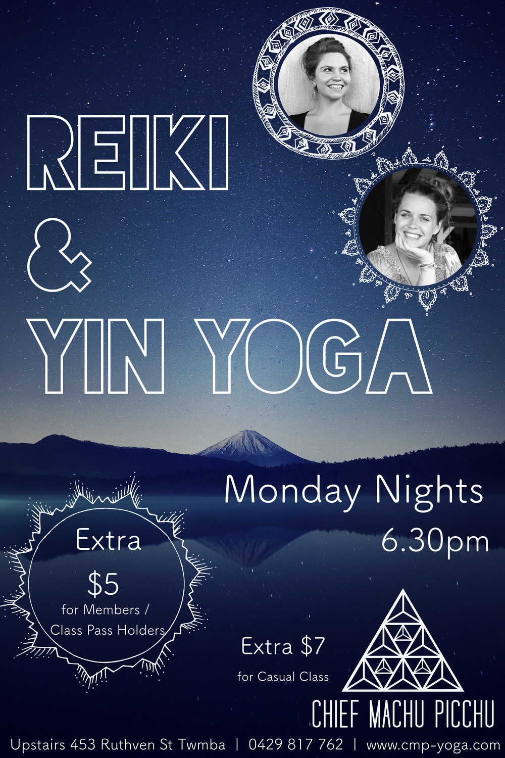 Reiki & Yin Yoga Lessons on Monday Nights at Chief Machu Picchu with Natalie & Camilla