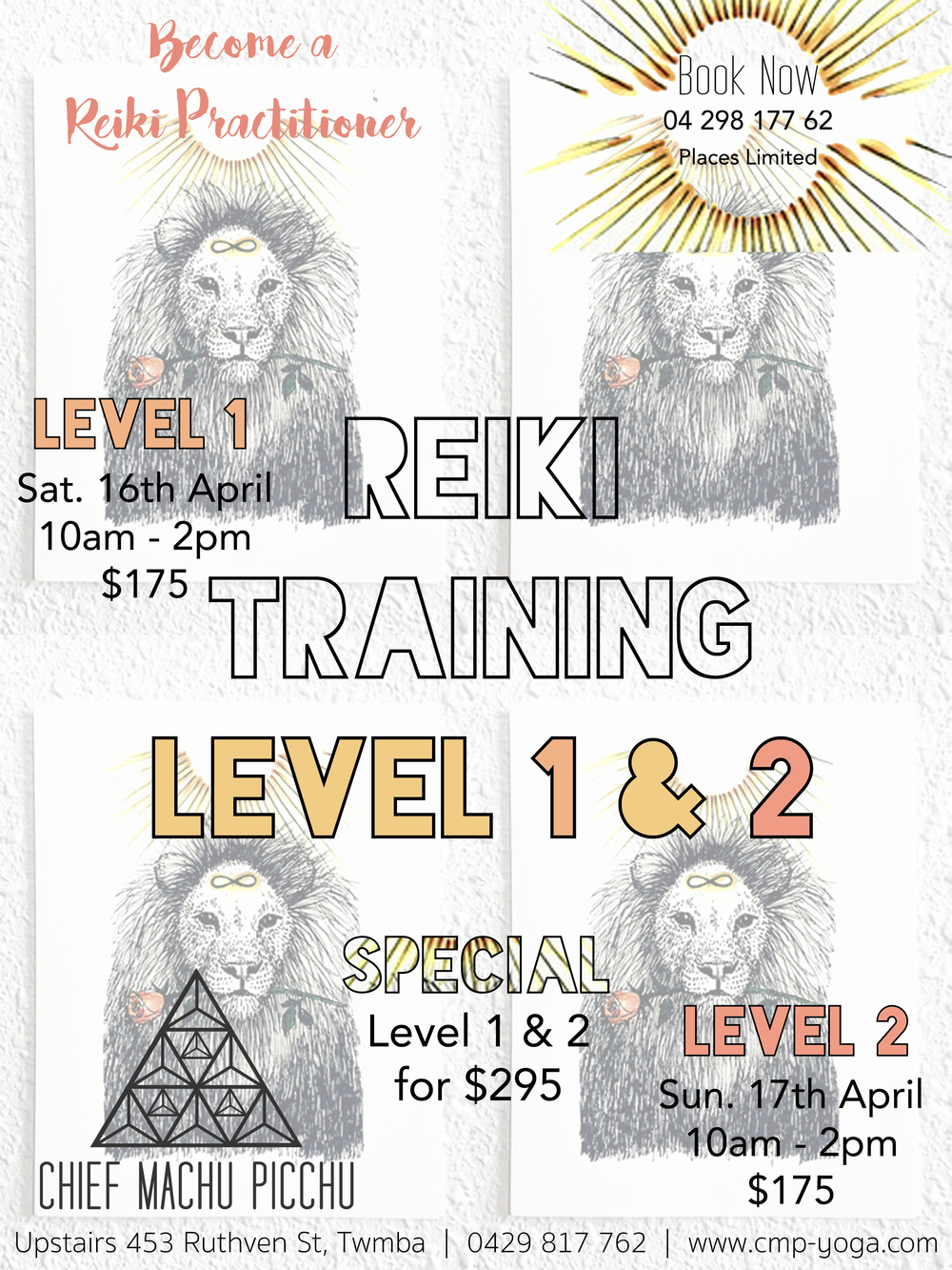 Final Week to Book in for Reiki Training in April 2016 with Natalie at Chief Machu Picchu Yoga Studio Toowoomba