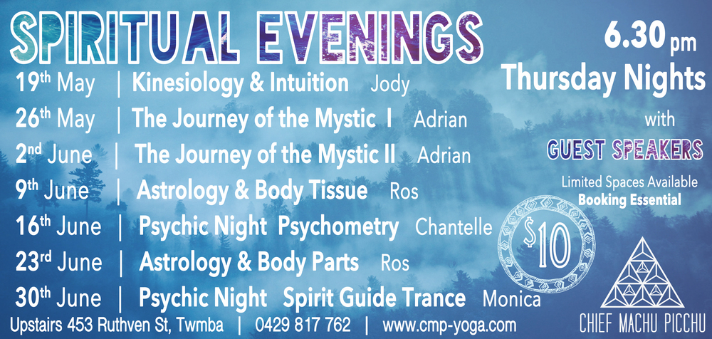 Spiritual Evenings here in Toowoomba! On Thursday nights  | Dates from May to June 2016  | All $10 Entry!