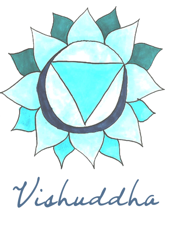 Vishudha   Throat CHAKRA  The throat chakra is the first of the three spiritual chakras. It is related to communication and expression of our creativity and thought. When balanced it enables us to speak our truth and to express who we are and what we need. It encourages listening to, and empowering, others.  This chakra encourages us to seek truth – moving beyond the limitations of cultural and family conditioning. To communicate clearly, and to be honest with ourselves and others. Vishuddha chakra is intrinsically linked to our personal integrity and sense of honour.  Here are some symptoms of a blocked or unbalanced Heart Chakra:   SYMPTOMS OF UNBALANCED THROAT CHAKRA   · Difficulty expressing ourselves, miscommunications,  · Inability to make decisions, fear of offending others  · Being overly critical, being overly accommodating to others at the detriment of our own needs,  · Being overly negative, excessive doubt,  · Inability to recall knowledge,  · Excessive shyness, poor listening, gossiping,  · Blocked creativity, disconnection from the divine,  · Sore throats, mouth ulcers, swollen glands, thyroid dysfunctions, laryngitis, voice issues, gum or tooth problems  · Scoliosis, thyroid dysfunctions  · Temporo-mandibular disorders of the jaw (TMJ), neck pain.     Colour:  Blue   Sanskrit:  Vishuddha – Wheel of great purity     Mantra Sound:  Ham   Location:  Throat   Element:  Ether   Symbol:  Inverted Triangle   Challenge:  Deceit and Lies   Animal:  Bull     Bodily Structures:  Thyroid gland, parathyroid gland, hypothalamus, trachea, neck, cervical vertebrae, mouth, tonsils, teeth, gums, oesophagus, larynx, tongue.   Sense:  Hearing   Essential Oils      · Frankincense  · Geranium  · Jasmine  · Lavender  · Clary Sage  · Cypress  · Peppermint  · Spearmint  · Eucalyptus  · Birch  · Oregano  · doTERRA Easy Air    Buy Oils Here       Crystals:  Lapis Lazuli, Blue Opal, Sapphire, Aquamarine, Turquoise, Blue Topaz, Angelate, Apatite, Aquamarine, Celestite, Blue Lace 