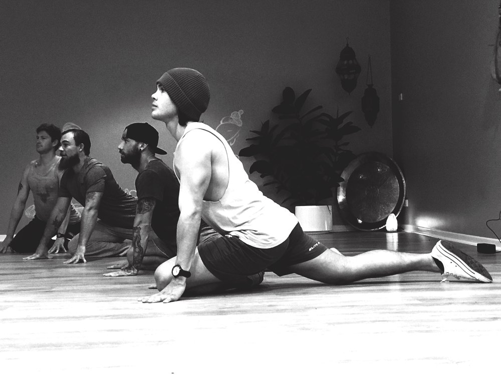 broga, mens yoga toowoomba health wellbeing king pigeon pose deep stretch
