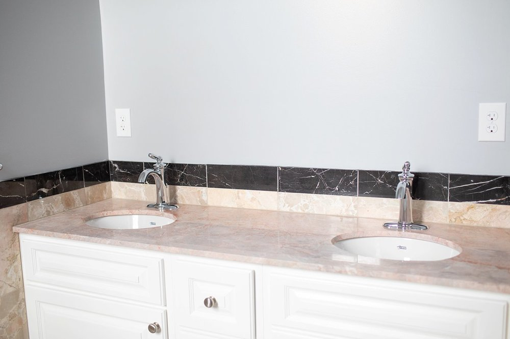Fun fact: I had a mirror for this dual sink vanity, but it wasn't quite right!  We'll still searching!