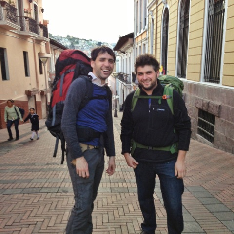Scott and Drew hiking in Quito, Ecuador in December, 2012
