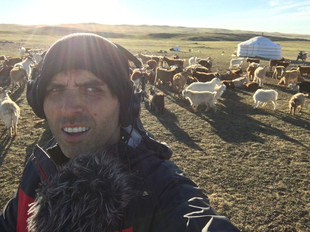 Scott reporting on location in rural Mongolia