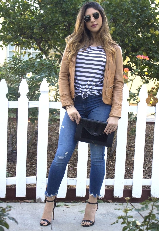 mel-ronnie-camel-leather-jacket-stripes-black-celine-envelope-clutch-patent-sandals-frayed-hem-jeans-round-sunglasses-1 copy.jpg