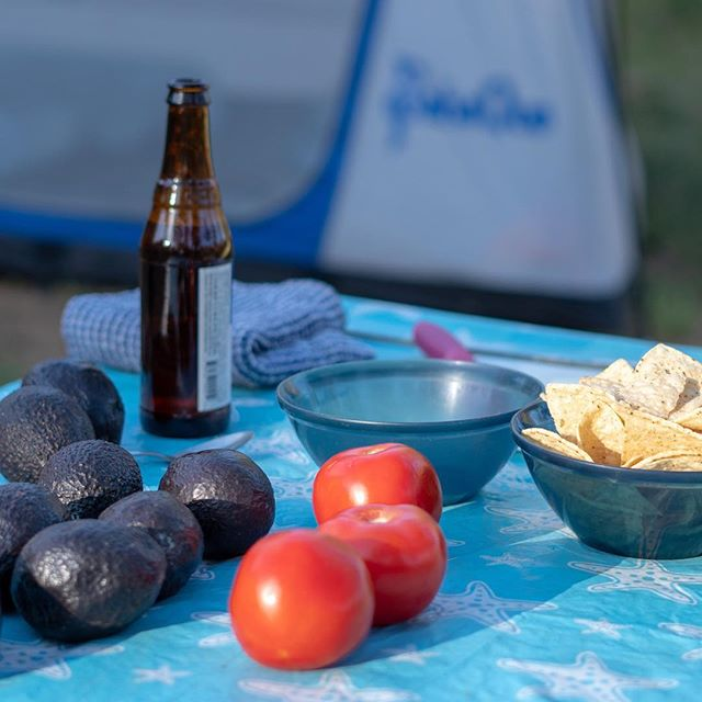 Guacamole fixin's and beer are defintely some of our camping essentials.  What  are some of yours? #sonyalpha #guacamole #camping #craftbeer #veggies
