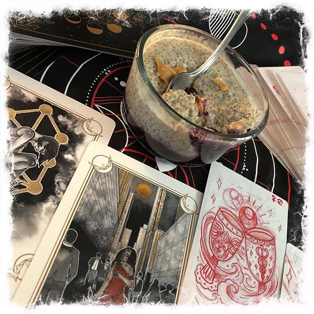 Cards and breakfast. How have you been honoring your temple? #sawyerspathtarot #magickandmediumsoracle #pbjchiapudding #tarot336 #jamiesawyer #mindfulness