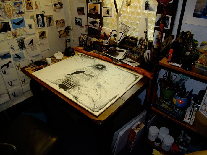 Mo's desk and Requiem in process © Rod Morgan and Mo Orkiszewski