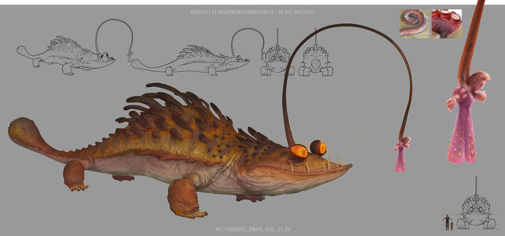 "This character, known as the ""Princess Monster"" was a lot of fun to work on. The concept was borrowed from the angler fish, but with a twist. It's organic lure is in the shape of a distressed princess, to lure in adventuring heroes. Except the princess is a slimy, translucent blob. This character was already designed by Dreamworks TV in LA when I first saw it. My task was to do the colour pass and add detail, as the existing design didn't really communicate the scale of the creature well."
