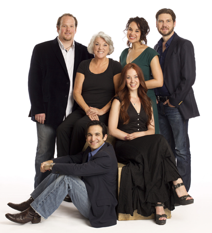 The cast of Manhattan Theatre Club's new Broadway production of MASTER CLASSBy Terrence McNally, directed by Stephen Wadsworth at Samuel J. Friedman Theatre (261 West 47th Street) Pictured (L to R): Garrett Sorenson, Tyne Daly, Jeremy Cohen (seated on floor), Sierra Boggess, Alexandra Silber (in green), and Clinton Brandhagen. © 2011, Joan Marcus.