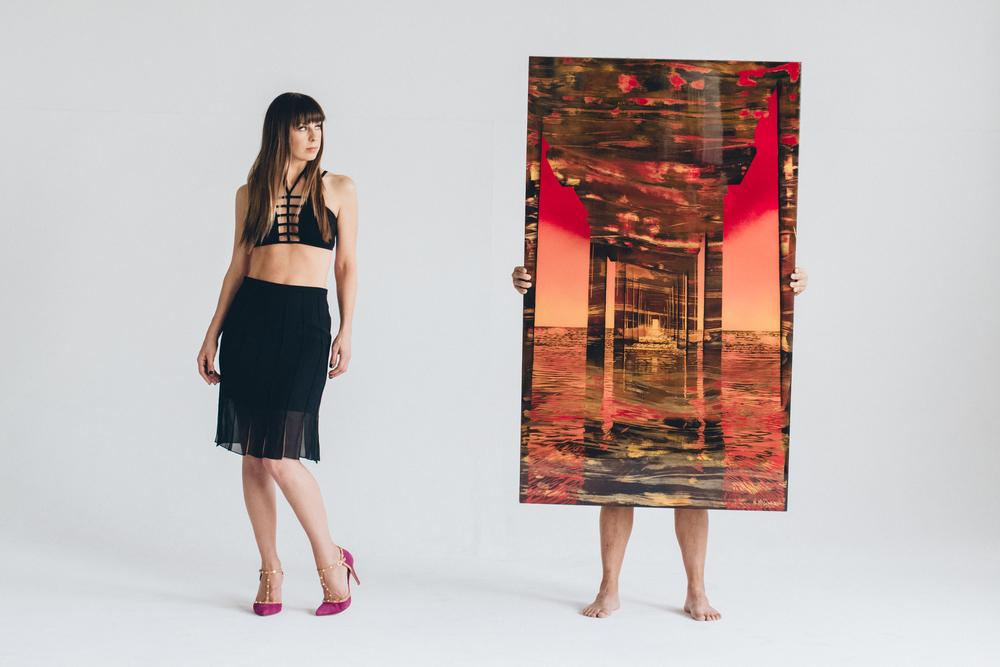 """""""Ignited Skies"""" 60x36 Mixed Media on Wood Panel"""