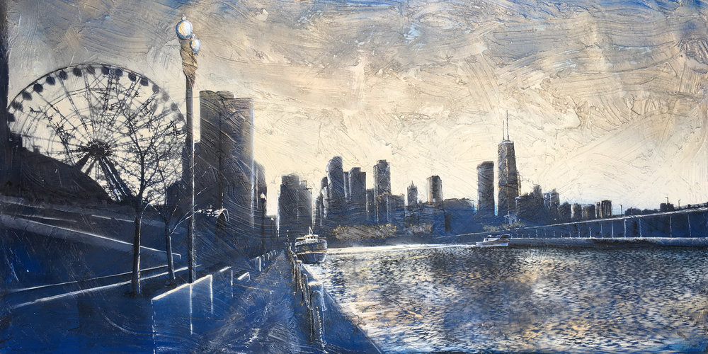 """The North Side"" (Chicago, Navy Pier) Painting by Nichole McDaniel  30x60 Mixed Media (acrylic, aerosol, and resin on wood panell)"