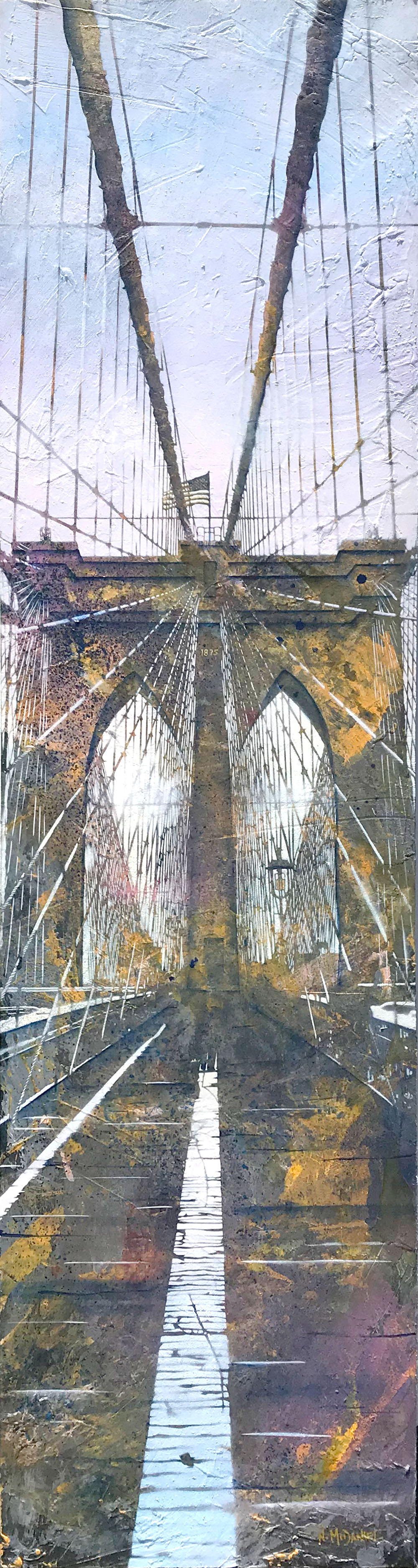 """Welcome to Brooklyn"" (Brooklyn Bridge, New York, New York) Original Painting By Artist Nichole McDaniel  75 x 20 Mixed Media (acrylic, aerosol, gold leaf, on wood panel)"