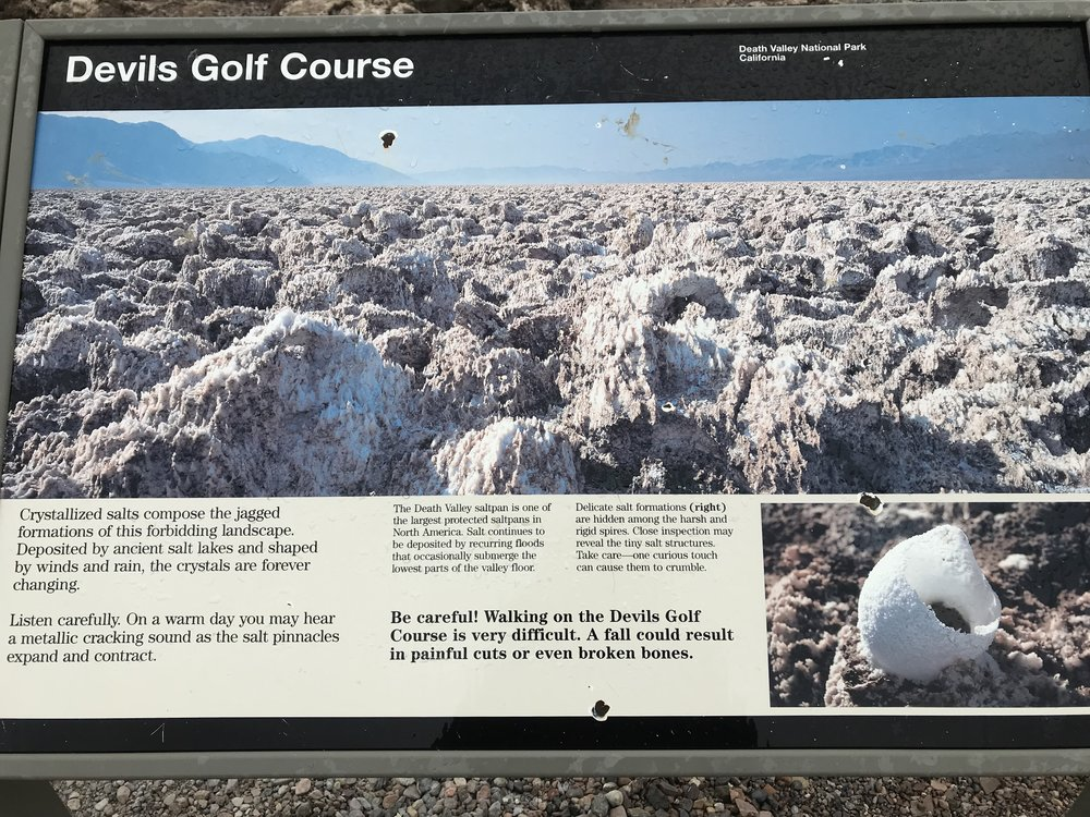 Informational Sign found at the Devil's Golf Course, Death Valley National Park, CA.  Photo By: Nichole McDaniel