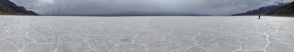 Panoramic Photo of Badwater Basin lowest point in North America, 282 feet below sea level. This is salt not snow by the way!  Photo By: Nichole McDaniel