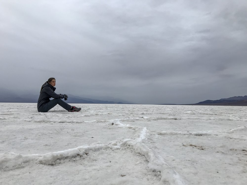 I couldn't help but take in the views of the storm and Badwater Basin, Death Valley, CA  Photo By: Nichole McDaniel