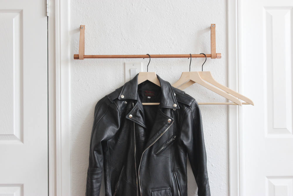 DIY Copper and Leather Hanging Clothing Rack hometohem
