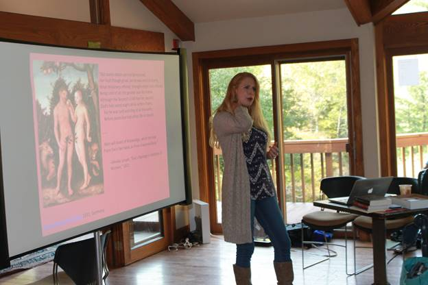 MCC English professor, and new Just Poets member Elizabeth Johnston explored two archetypes of patriarchal society: Medusa & Perseus and Adam & Eve.