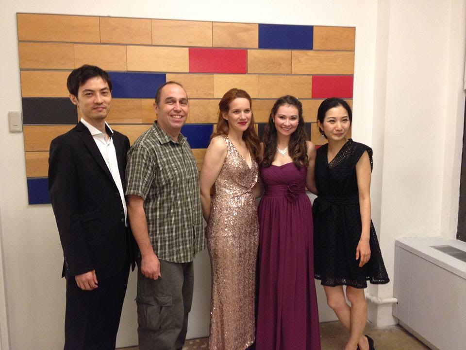 With guitarist Kenji Haba, composer Douglas DaSilva, mezzo-soprano Abby Wright, and pianist Kyungmi Nam after a concert at the National Opera Center in NYC