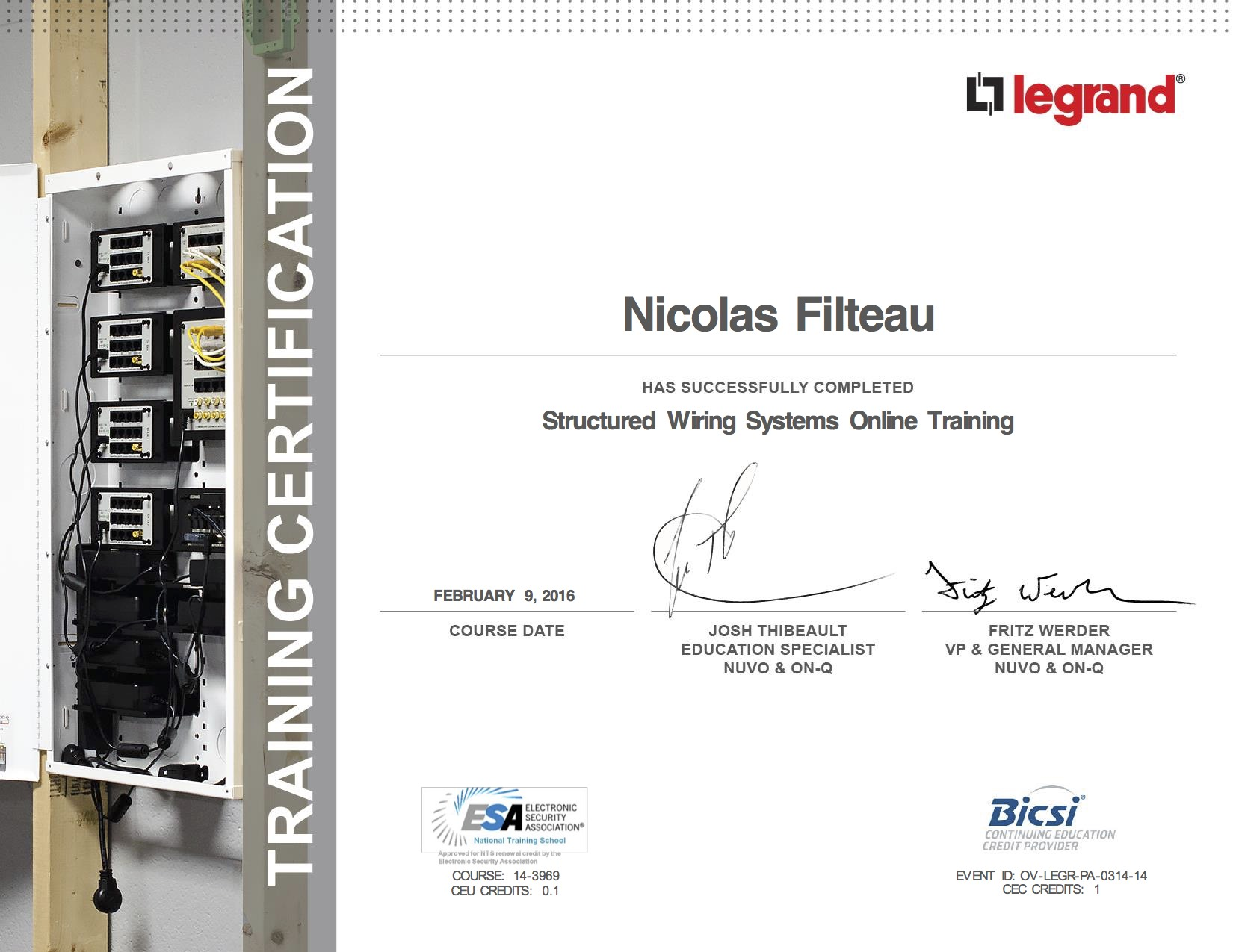 Certifications nf electrical and event production structured wiring systems certificate 1betcityfo Choice Image