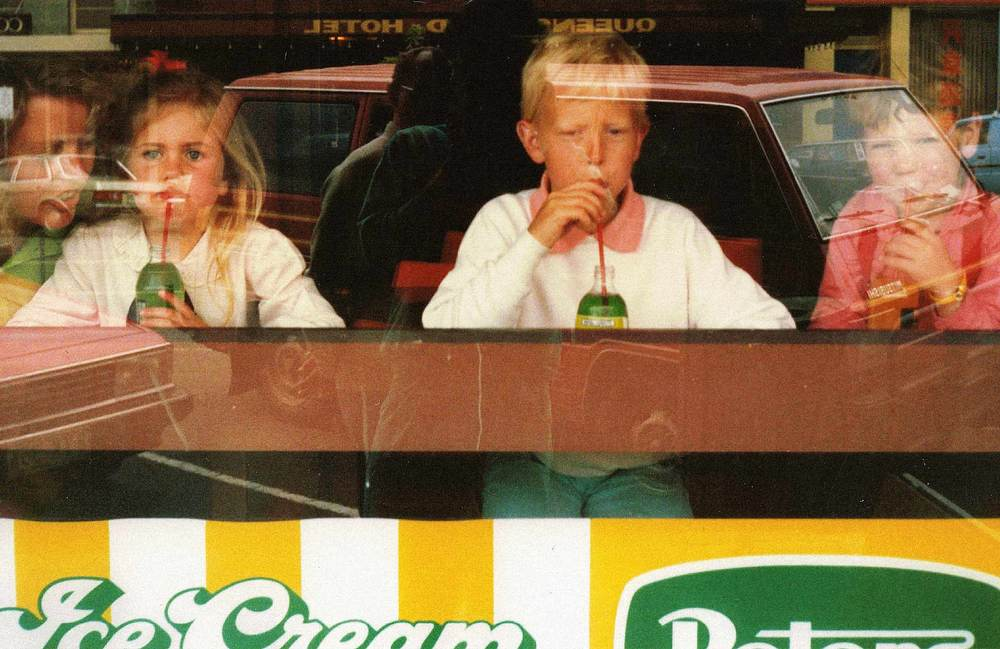 Mum, Cousins and me on the right sipping a Fanta in a long gone Geelong city Milk Bar on Ryrie Street possibly in the old Sale Yards Building, 1985 – 87. Photo credit: Malcolm Donnelly