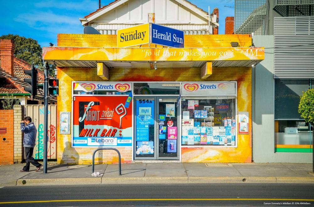 """The Forgot What? Milk Bar, with the bonza tagline - """"Food that makes you go MM"""" Prahran, 2010. Photo: Eamon Donnelly"""