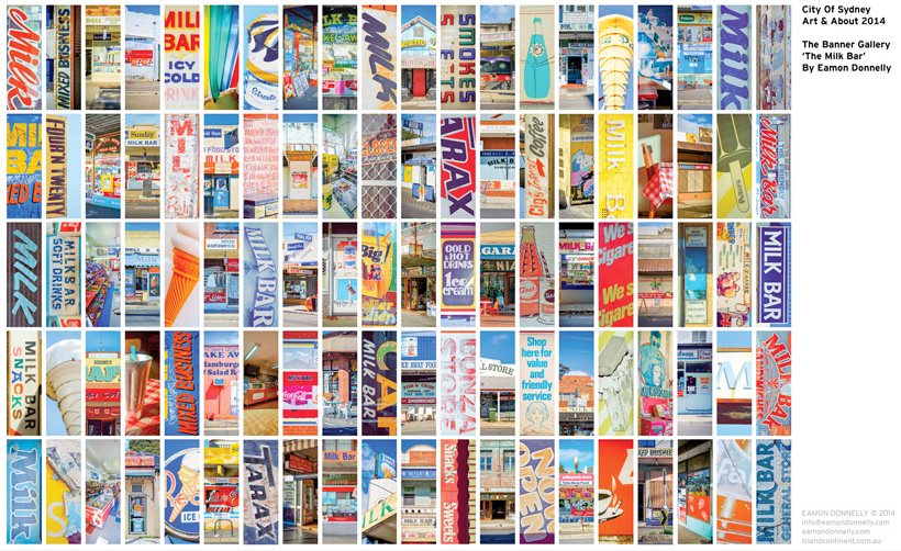 Final 100 Banner crops from the Milk Bar photography project's 10 year archive.