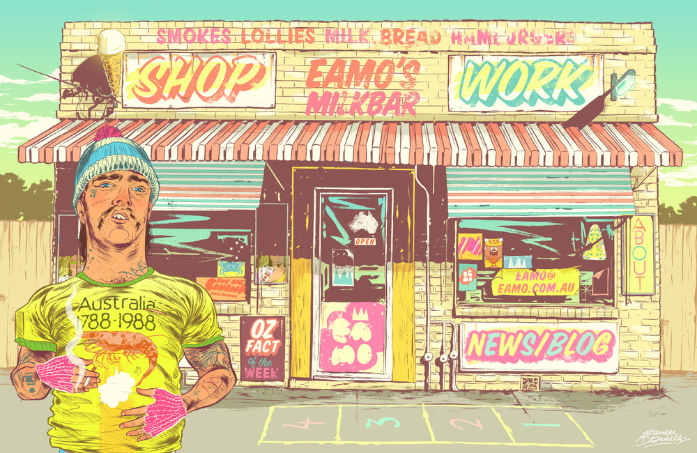 My illustrated Milk Bars themed home page for my website from 2008 - 2012. 'Eamo's Milk Bar'