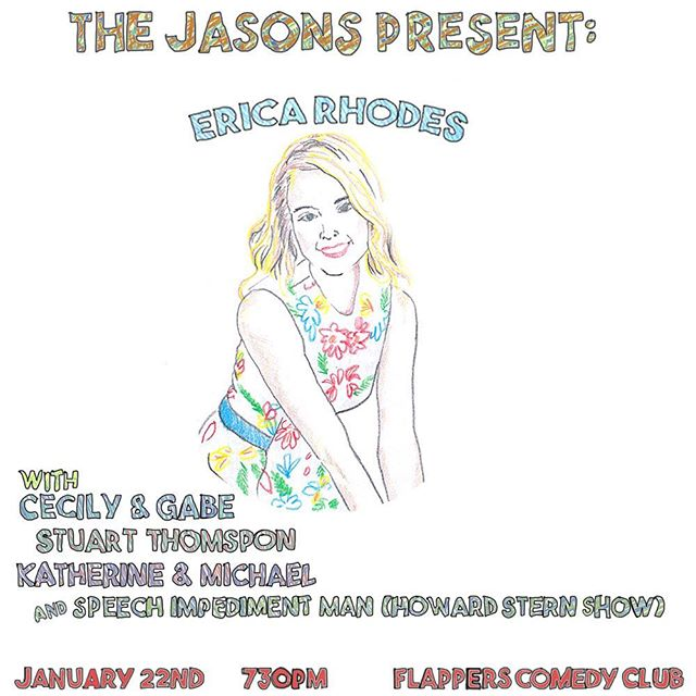 TIX IN BIO!  The Jasons Present: @ericarhodes22 on 1/22! Erica is one of our absolute favorite comics! You don't wanna miss this show!  Also featured are @michaelwittels @thekatwinston @gabegibbs @cecilybreaux @stuartbthompson and Speech Impediment Man from #thehowardsternshow