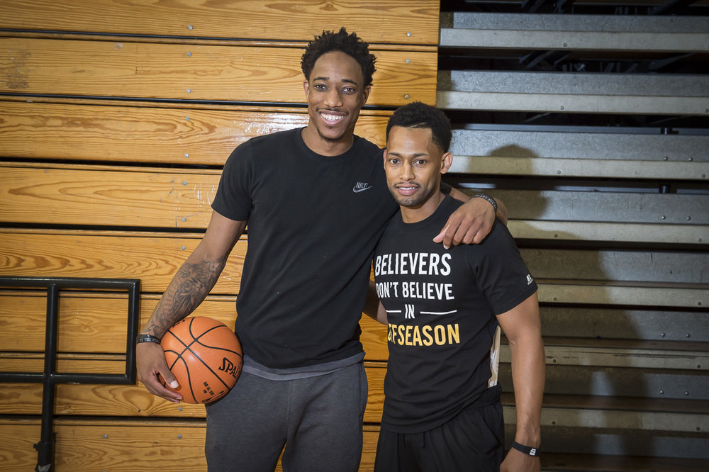 Nick pictured with Olympic gold medalist DeMar DeRozan after they conducted a Spalding basketball IQ camp in his hometown of Los Angeles, California. Nick led camps for Spalding all over North America including NBA All-Star Weekend, North Carolina with Chris Paul and In Denver with Chauncey Billups.