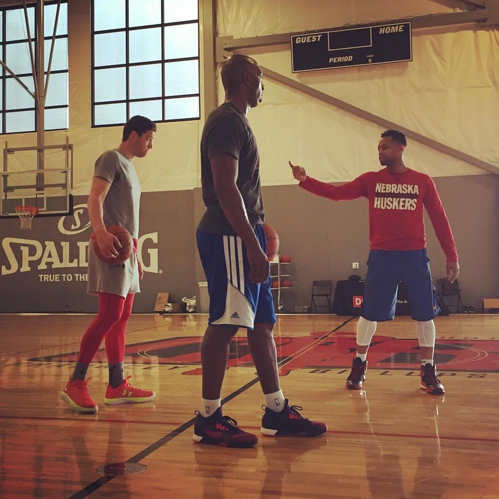 Nick Graham pictured above instructs Naismith Player of the Year Jimmer Fredette and NBA champion Chauncey Billups during one of Nick's Attention To Detail workouts.