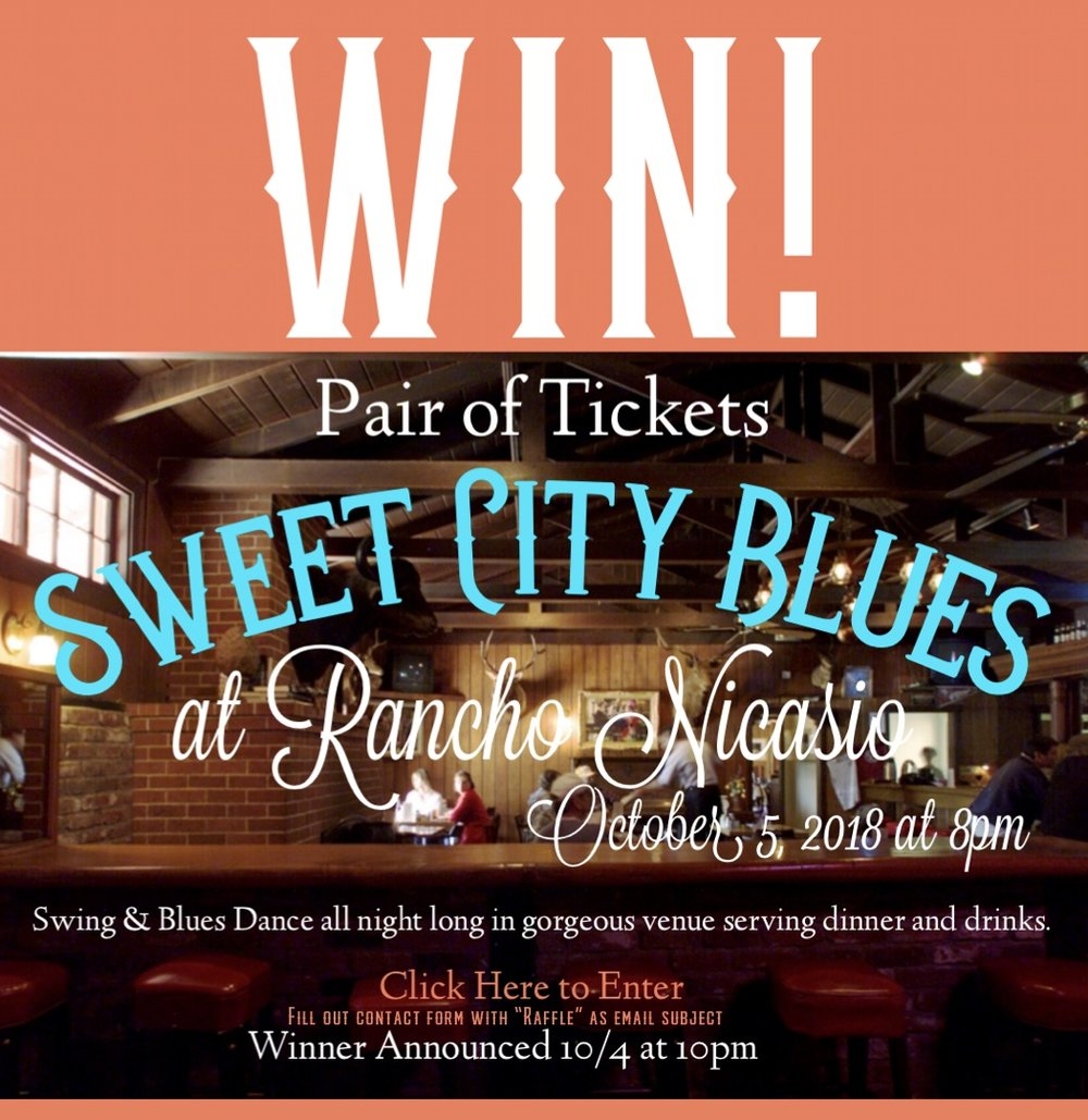 Jasmine Worrell Dance is giving away a pair of tickets to see Sweet City Blues play their debut at Rancho Nicasio on October 5th. This will be a fun dance night to catch. Winner will be selected at random and contacted via email at 10pm on 10/4. Must email Jasmine by clicking the link above or email her at: jasmineworrell@gmail.com in order to be entered into the drawing. Good luck!
