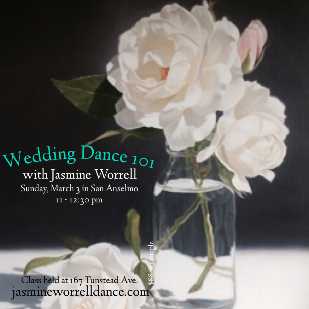 Learn how to dance with grace and confidence - Specializing in 2 left feet! You don't need any dance experience to smash a first dance. Join Jasmine in a fun and open dance class just for those looking to rock their wedding dance with simple, graceful dance moves. Perfect for anyone who want a traditional and romantic or more contemporary style wedding dance.*** MUST RSVP BY 3/1/19 to: jasmineworrell@gmail.com or 510-388-5498 (or buy purchasing an Eventbrite ticket online below).$88 per couple at the door or Early Bird Discount here.