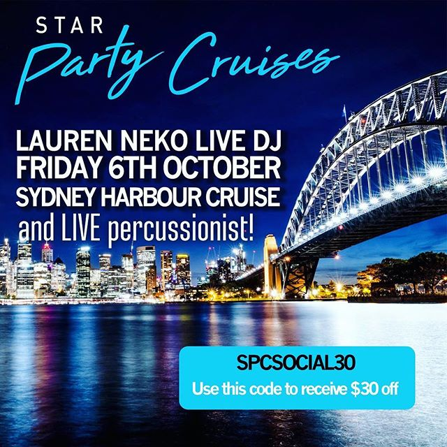 💙🥂🎤🛥🍟🎧🥁⭐️ $50 for a night of live house with vocals and percussion, plus first drink on arrival AND FREE TAPAS?! 💙 I would love to party and nibble away with you Friday 6th of October over #sydneyharbour 💙Usually $80, use the #discountcode to get your saving of $30 - it really is a steal at this price! 💙#sydneylife #wimsydney #womeninmusic #sydneyharbour #cruisesydneyharbour