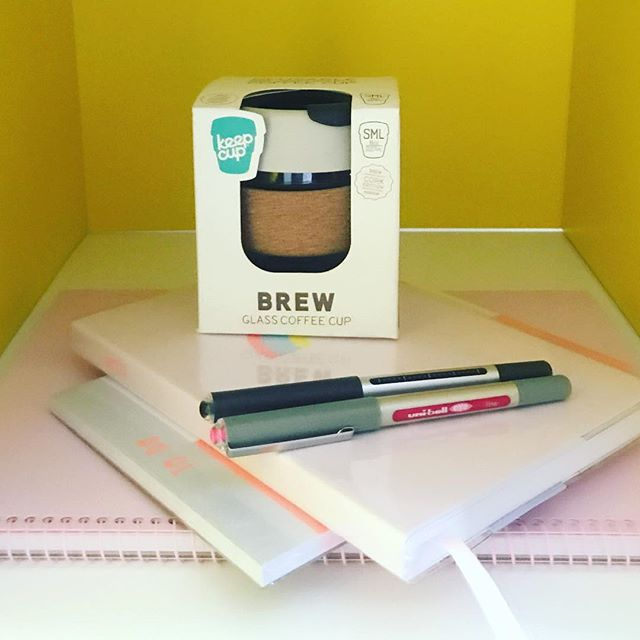 💗☕️🖊... New role, new stationery! 🤓Can't wait to use my @kikki.k diary, notebook and to-do lists!📒My new bright pink @uniball_pen is also a bit special! 💗I've also wanted a glass and cork @keepcup since forever... now I have a desk to keep it at I don't have to worry about breaking it in my handbag! Third #keepcup and counting! ☕️Announcement to follow 😆