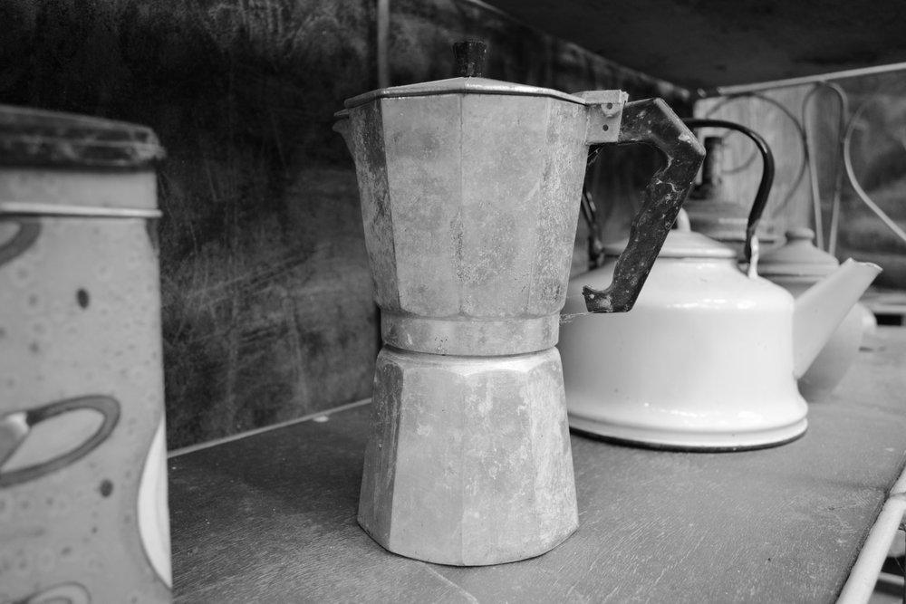 A Moka Pot on display at Cafe don Pepe in Trinidad, Cuba.